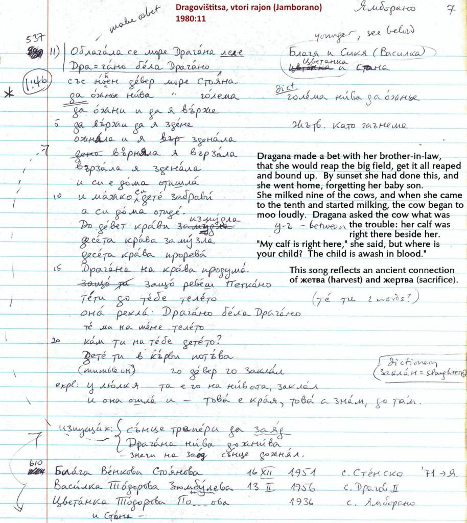 T- Jamborano '80-11 Oblagala (hand-wr w transl)